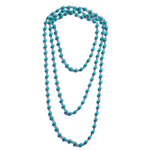 Long Blue Beaded Necklace Set