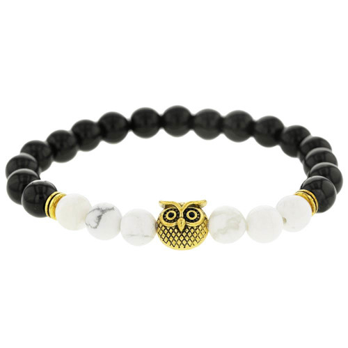 Beaded Gold Owl Bracelet