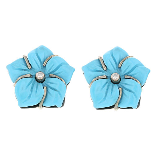 Blue Hydrangea Flower Earrings