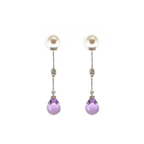 Amethyst Briolette Pearl Diamond Earrings
