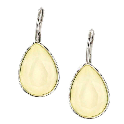 Powder Yellow Teardrop Rhodium Earrings