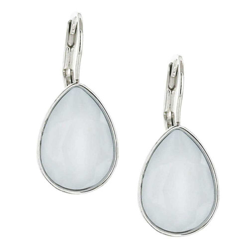 Powder Blue Teardrop Rhodium Earrings