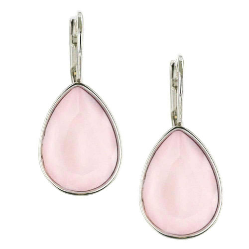 Powder Pink Teardrop Rhodium Earrings