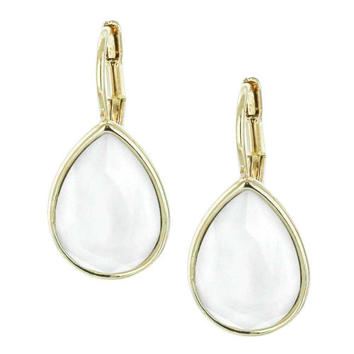 Powder White Teardrop Earrings Gold Plated