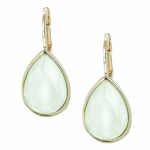 Powder Green Teardrop Earrings Gold Plated