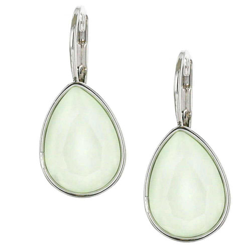 Powder Green Teardrop Rhodium Earrings