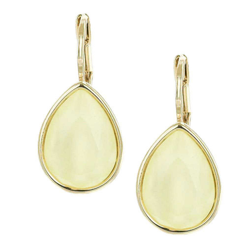 Powder Yellow Teardrop Earrings Gold Plated