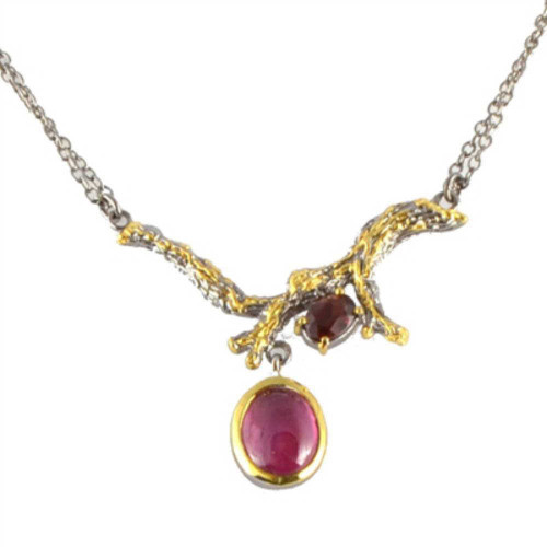 Ruby and Garnet Branch Necklace