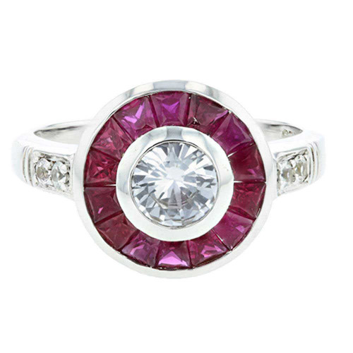 Bedazzled Ruby and White Sapphire Silver Ring