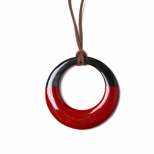Red Tribal Circle Necklace
