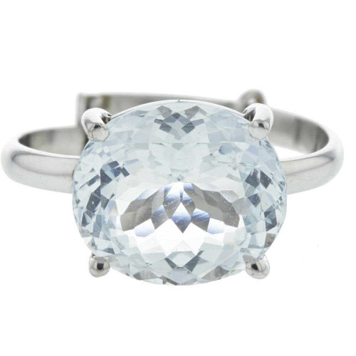 22K Aquamarine White Gold Ring