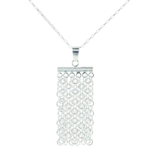 Silver Chainmail Necklace Pendant