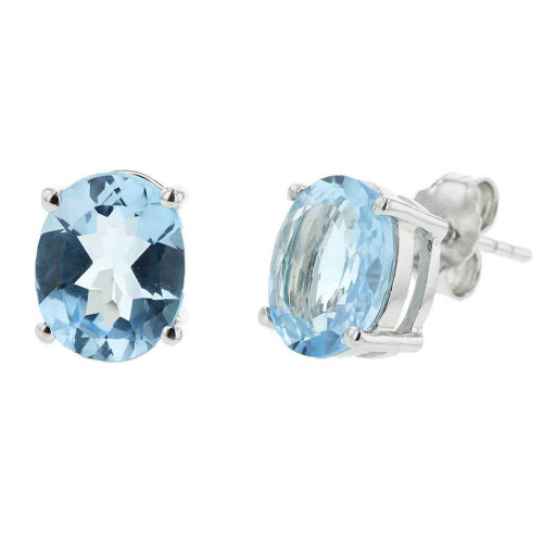 Sky Blue Topaz Oval Stud Earrings