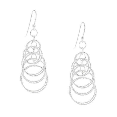 Silver Interlocking Chandelier Chain Earrings