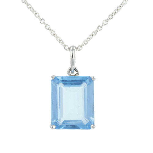 22K Blue Topaz Pendant Necklace