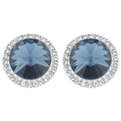 Blue Crystal Halo Earrings