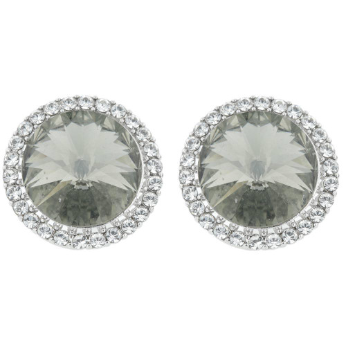 Grey Crystal Halo Earrings