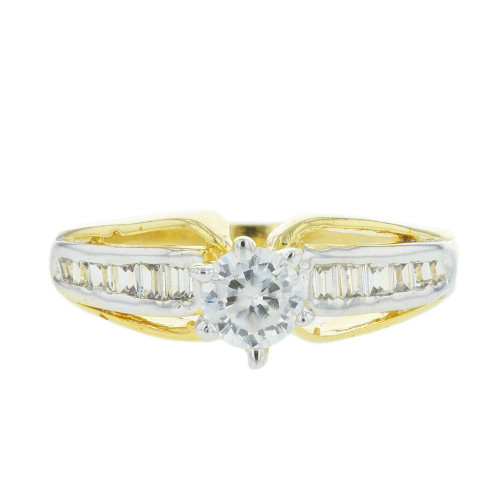 CZ Gold Plated Solitaire Ring Size 6.0