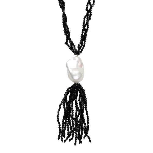Black Agate Tassle Necklace