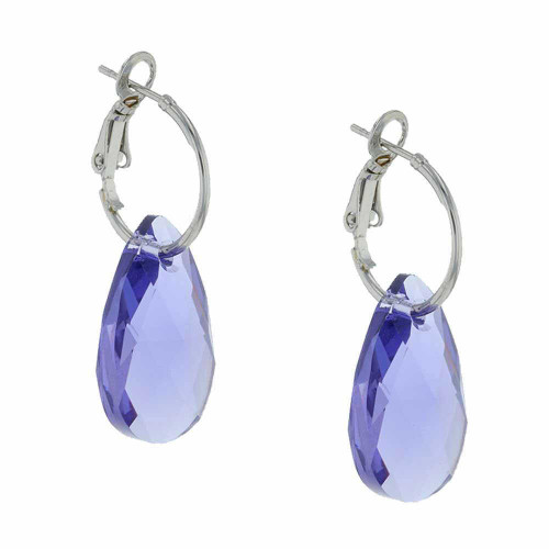 Grape Rock Candy Rhodium Earrings