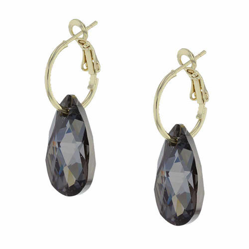 Black Licorice Rock Candy Gold Earrings