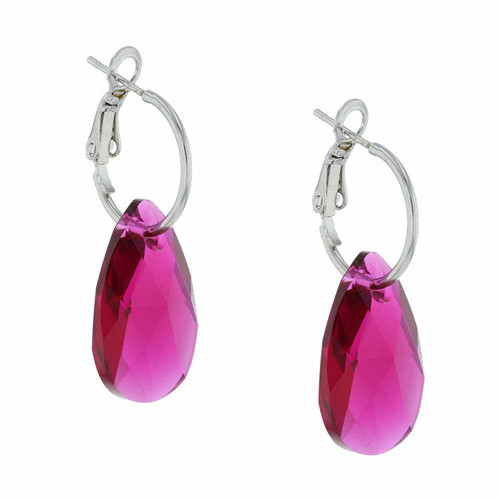 Raspberry Rock Candy Rhodium Earrings