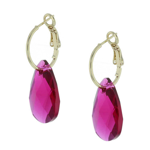 Raspberry Rock Candy Gold Earrings