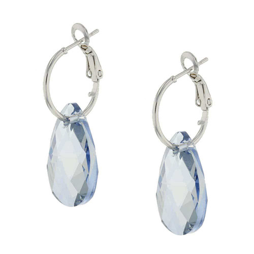 Sweet Blue Rock Candy Rhodium Earrings