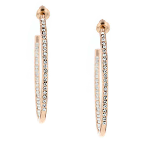 Rose Gold Plated Brass Hoop Earrings with CZ