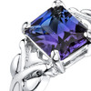 2.75 carats Radiant Cut Alexandrite Sterling Silver Ring