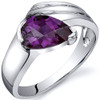 Contemporary Pear Shape 1.75 carats Alexandrite Sterling Silver Ring