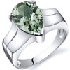 Brilliant 2.50 carats Green Amethyst Solitaire Sterling Silver Ring