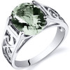 2.25 carats Green Amethyst Solitiare Sterling Silver Ring