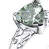 2.50 carats Trillion Cut Green Amethyst Sterling Silver Ring