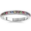 Sterling Silver Classy Eternity Band Ring with Multi Color Swarovski Simulated Crystals 3mm