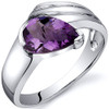 Contemporary Pear Shape 1.00 carats Amethyst Sterling Silver Ring