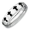 Sterling Silver Stackable Expressions Polished Enameled Cross Ring