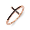 Sterling Silver Rose Gold-Plated Antiqued Sideways Cross Ring