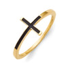 Sterling Silver Yellow Gold-Plated Antiqued Sideways Cross Ring