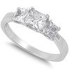Sterling Silver 3 Stone Clear Princess Cut Simulated Diamond Engagement Ring