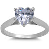 Sterling Silver Heart Cut Clear Solitaire Simulated Diamond Engagement Ring