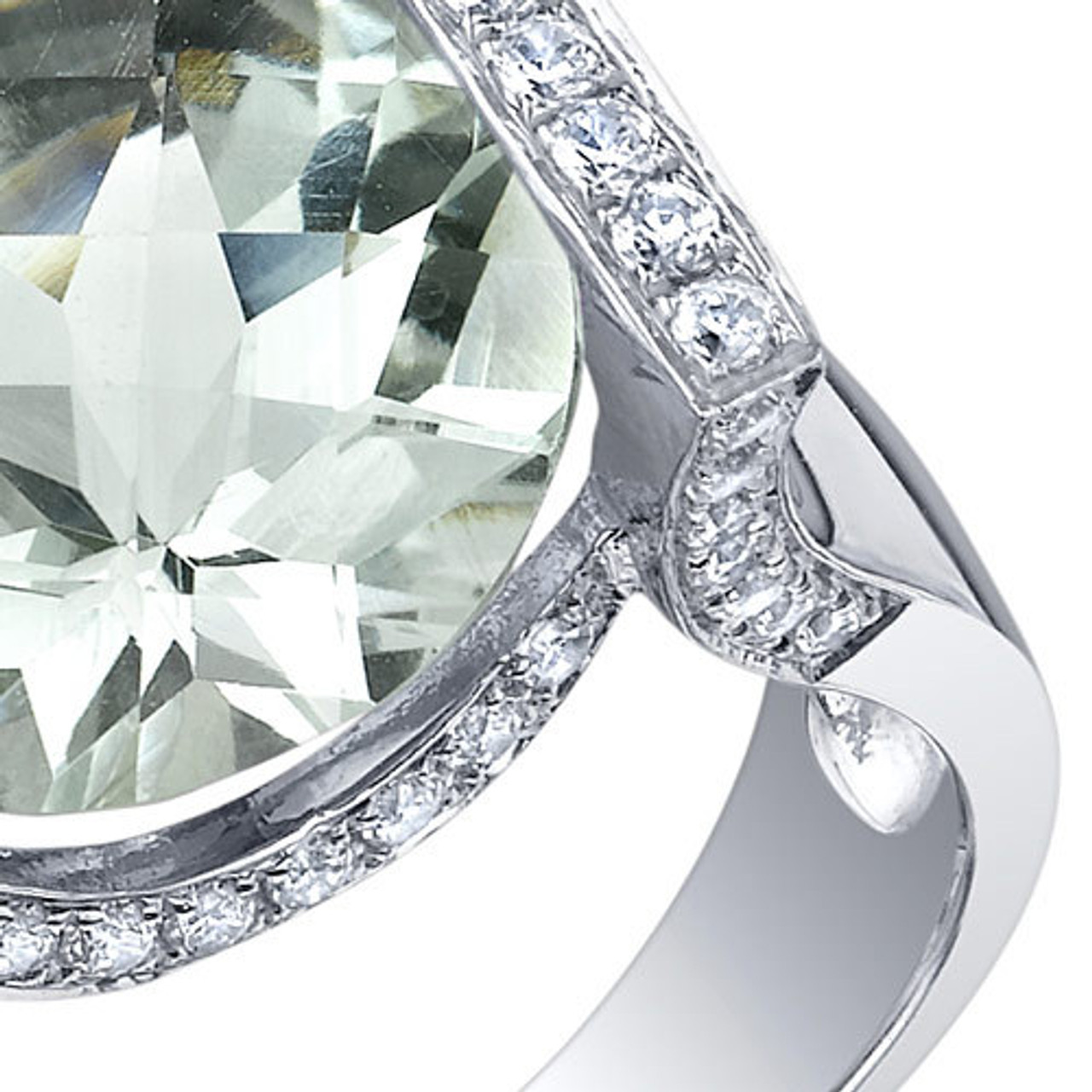 Green amethyst ring sterling silver round cut bezel setting engagement ring for women