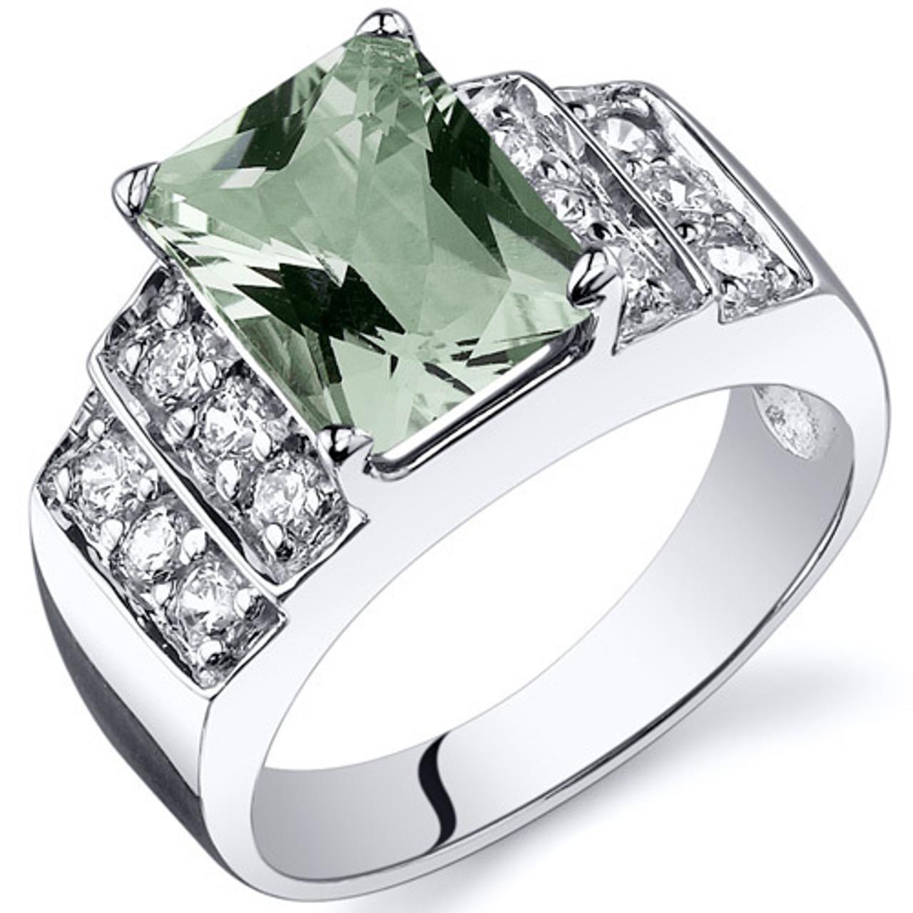 Amethyst Pendant Necklace Sterling Silver Rhodium Nickel Finish 2.75 carats Radiant Cut