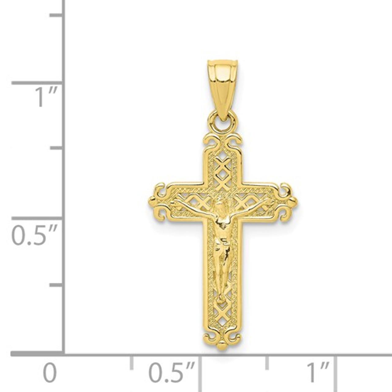 10k /& Rhodium CZ Crucifix Pendant