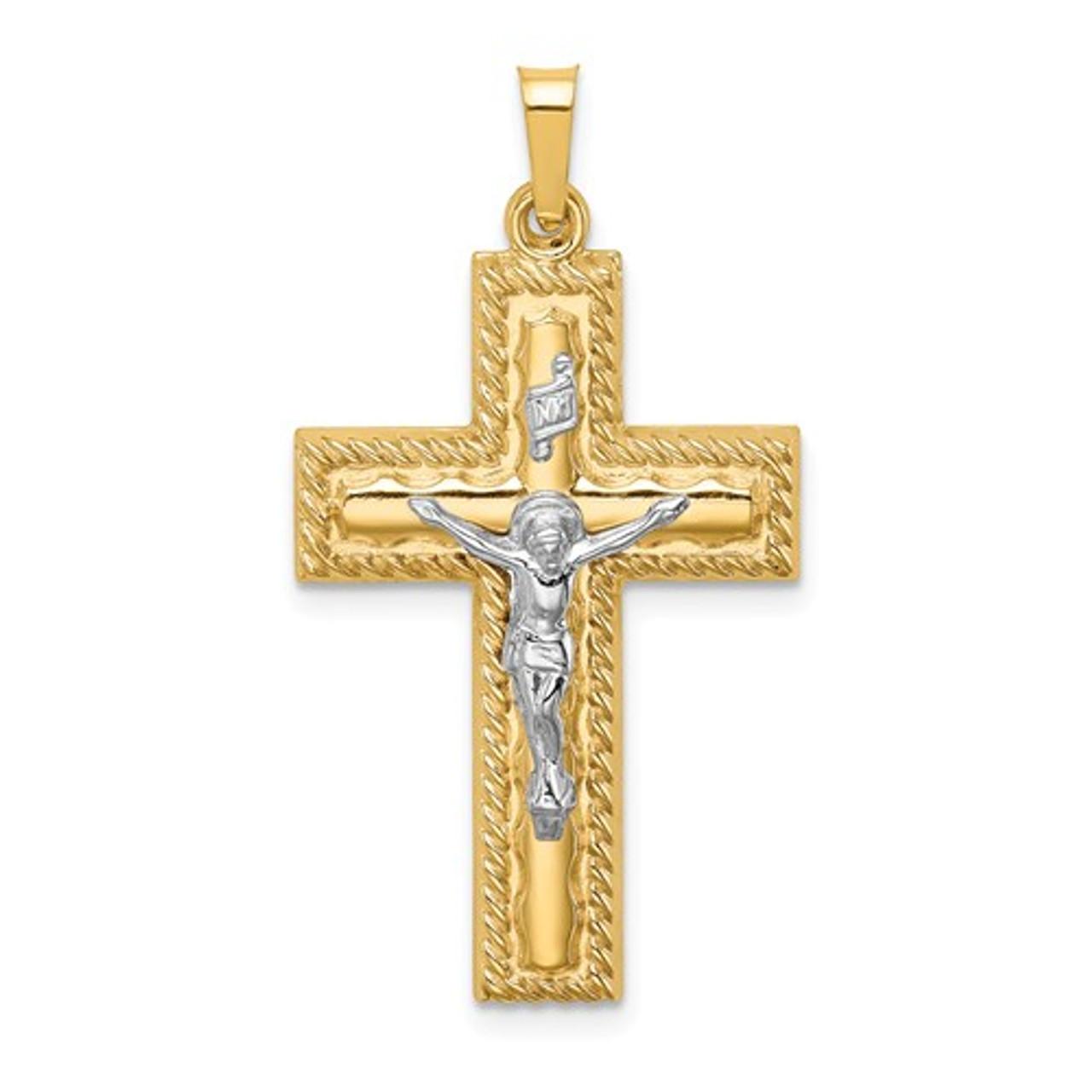 14k Two-tone Hollow Crucifix Pendant New Charm