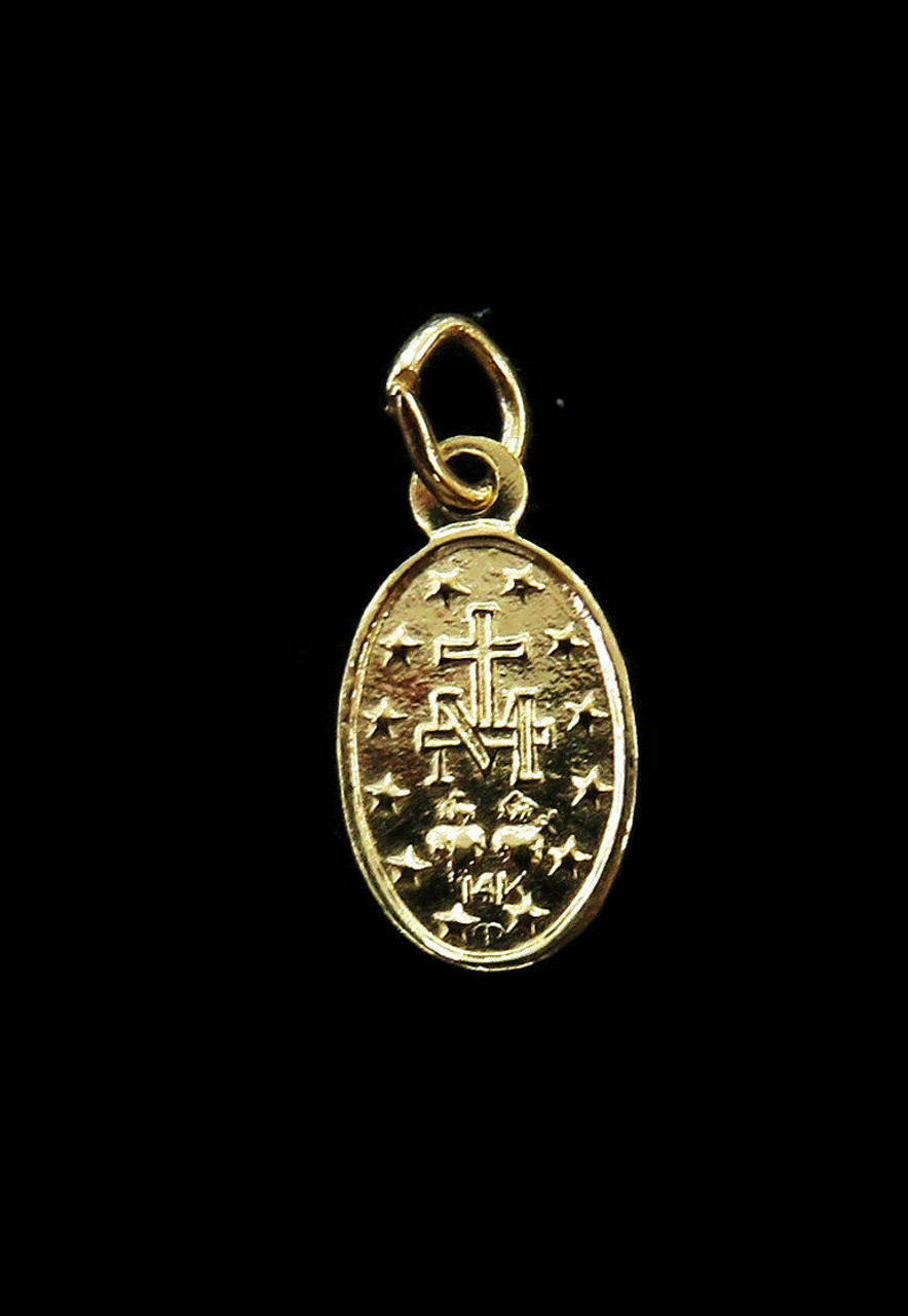 """Details about  /14k yellow rose gold virgin Mary Holy mother oval pendant charm 1.35/"""" long"""