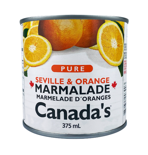 Orange Marmalade brings to mind Dundee Scotland, where mass production began, Paddington Bear and his Marmalade Sandwiches, and the zesty taste of Seville oranges. Orange Marmalade is now part of Canada's lineup of jam. We use Seville Juice combined with Sweet Orange rinds and combine them with our pure fruit, low heat processing method. This is a unique combination you are sure to enjoy. Mmmmm!