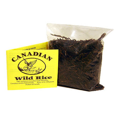"""It is generally agreed that the farther North Wild Rice grows the better the quality. The grain gets larger and dark in colour. The taste is more distinct without the """"swampy"""" taste of inferior grades. Our rice is sourced in the far north of Manitoba. It is graded Jumbo Select which is the highest grade available. Buy more and save more."""