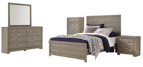 A sophisticated modern chunky look with large satin nickel colored hardware. Warm gray vintage finish with subtle pearl effect over replicated cherry grain. Side roller glides for smooth operating drawers. Drawer interiors finished with a replicated linen design. Slim USB charger located on the back of the night stand tops. Headboards can attach to a bolt-on metal bed.