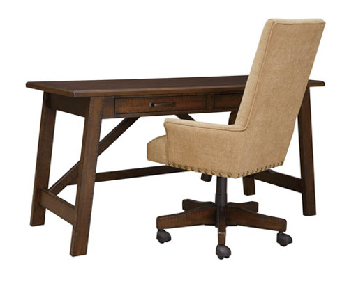 Bringing head-turning style to the home office, the Baldridge richly upholstered swivel desk chair with striking high-back design and armrests makes work so much more comfortable.  Made with Acacia veneers and select hardwood solids in a warm brown with subtle saw kerf distressing. Leg desk has canted base and two drawers for storage.